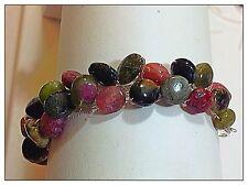Watermelon Tourmaline Bracelet, All Gemstones, Silverplated