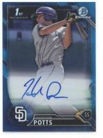 2016 Bowman Chrome Draft Draft Pick Autographs Blue Refractors Hudson Potts /150