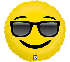 "Sunglasses Cool Emoji 18"" Foil Balloon Double Sided Smile Emoticon 3 Pack"