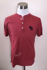 NWT Abercrombie & Fitch Men's BIG ICON HENLEY, Red, X-Large