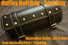 Black Leather Motorcycle Harley Tool / Roll Bag - Front Fork Tool Bag