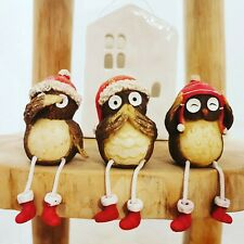 Jolly Owls Set of 3 Christmas Decor sitting sideboard pieces dangly legs