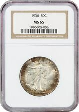 1936 50c NGC MS65 - Colorful Toning - Walking Liberty Half Dollar