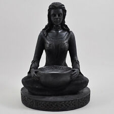 Meditation Gothic Celtic Lady Tea Light Holder in Black Pagan Magic Decor 34105