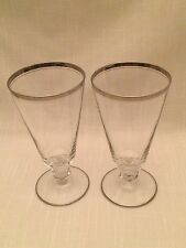 Set of 2 BROOKMERE GLASTONBURY LOTUS Double Platinum Rim Iced Tea Goblets