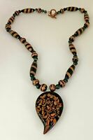 Vintage Gold Tone Multi Color Glass Beaded Pendant Necklace Jewelry