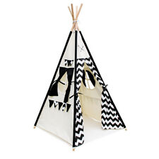 Kids Teepee Tent Pretend Play Canvas Indoor Outdoor Fun 4 Poles Black White