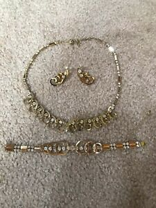 Vintage Sarah Coventry Celestial Fire Necklace Earrings Bracelet Set