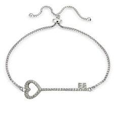 Sterling Silber Zirkonia Herz Schlüssel Verstellbares Armband