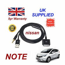 For Nissan NOTE iPhone iPod USB & Aux Cable replacement (Black)