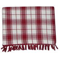 New! Threshold™ Red Fringe Plaid Table Runner 14 X 72 Cotton