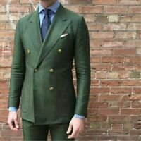 Men Olive Green Double Breasted Suit Tuxedos Formal Wedding Prom Suit Custom