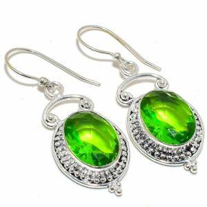 """Burmese Peridot Gemstone 925 Sterling Silver Jewelry Earring 2.0"""" S2666"""