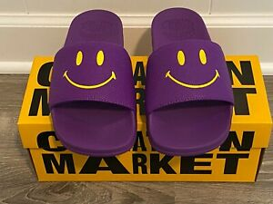 New with Box Mens Chinatown Market Smiley Purple/Yellow Slides! 9, 10, 12!