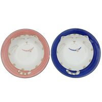 Japanese Cat Soup Bowl Blue Pink Porcelain Set of 2