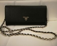 PRADA LONG WALLET WOMEN'S CHAIN SHOULDER BAG BLACK SAFFIANO LEATHER 1M1290