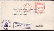 3849 Peru To Chile Diplomatic -Honduras- Cover 1954 Mechanic Cancel