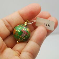14K GOLD GLOBE IN GREEN ENAMEL PENDANT WITH GEMSTONE INSERTS- MOP,JASPER, AGATE
