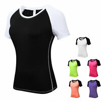 Womens Athletic Shirts Sports Workout Yoga Activewear Gym Top Quick-dry Slim fit