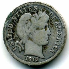 1913 P BARBER HEAD DIME SILVER 10 CENT AVERAGE CIRCULATED SCARCE U.S 1 COIN#1494
