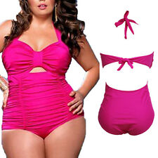 3X High Waisted Bikini Sweetheart Neck Ruched Plus Size One-Piece Swimsuit Rosy