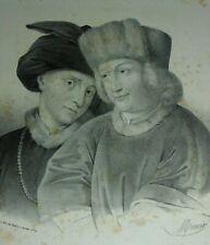 """Hubert et Jean-van-Eyck Lithografie von Chabert, r casett  Signiert """"Maurin"""""""