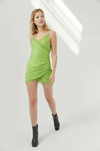 Urban Outfitters Lime Green Margaux Satin Wrap Slip Dress BNWT Size L RRP £42