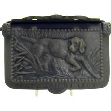 Cast Iron Wall-Hanging Match Holder with Hunting Scene - 1862
