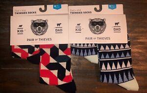 2 Twinsies Sock Set NEW Pair of Thieves Dad & Kid Men Sz 8-12 & Kid M 4yr -8yr