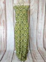 Next Yellow Patterned Sleeveless Maxi Dress Stretchy Size 10
