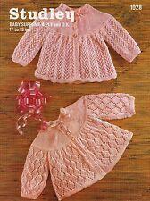 "Studley 1028 Vintage Baby Knitting Pattern 17-19"" 4 ply DK Cardigan Matinee Coat"