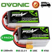 2X Ovonic 1300mAh 22.2V 100C 6S Lipo Battery XT60 Plug for Nemesis 240 Mini FPV