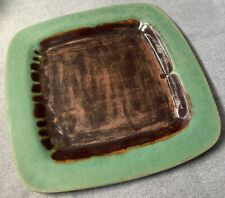 Vintage Square Green Brown Ceramic Decorative Pottery Dish Plate Modern 70s 80s