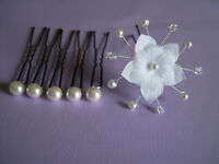 Pic/accessoire/épingle chignon Cheveux Mariée/Mariage/Cérémonie Blanc fleur
