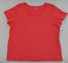 Laura Scott Top Womens Size 3X Pink Tee Shirt Lace Front Short Sleeve