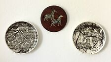 Painted Zebras On Copper On Wood, Wall Plates & Set Of Etched Glasses