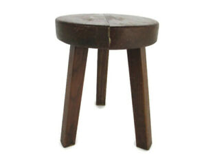 Antique Hand Carved wood  Milking Stool Pedestal Table Pedestal Barn Style Funky