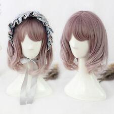 Harajuku Lolita Brown Pink Medium Long Beauty Wig Cosplay Party Wavy Curly Hair