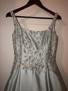 Silk organza light blue BOX Pleated AMSALE wedding gown Size 10