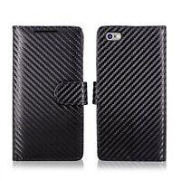 Genuine Black Carbon Fibre Leather Wallet Case For Various Apple iPhone Phones
