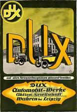 DUX Automobil Werke Leipzig Kriegsschauplätze K24 Plakat Braunbeck Motor A2 155