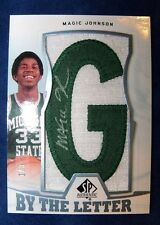 MAGIC JOHNSON 13-14 AUTOGRAPH SHORTPRINT 1/3 SP AUTHENTIC LIGHTBLUE LETTER PATCH