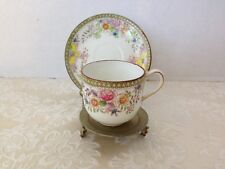 Antique Hand Painted Nippon Demi Cup & Saucer Maple Leaf Mark with Brass Stand