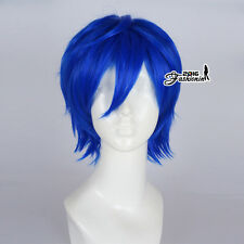 30CM Royal Blue Men Short Layered Party Fashion Synthetic Cosplay Wig+Wig Cap