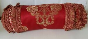 Waterford Charlemont Ruby Oblong Neck Roll Decorative Pillow Fringe