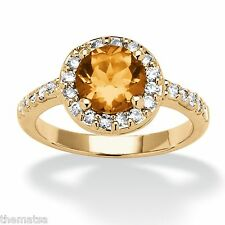 WOMEN ROSE GOLD CZ CITRINE NOVEMBER BIRTHSTONE RING SIZE 5 6 7 8 9 10