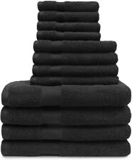 12-pc. Superior Egyptian Cotton Towel Set 4 Bath, 4 Hand, 4 Face Towels Black