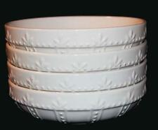 """4 Signature SORRENTO Embossed Leaves Ivory Distressed 8-1/4"""" Pasta Bowls NWT"""