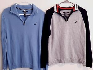 Lot of 2 Boys Nautica 1/4 Zip Pullover 100% Cotton Sweaters Size Lg. 14/16