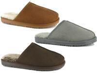 Mens Slippers Faux Fur Memory Foam Comfort Backless Outdoor Sole Slip On Mules